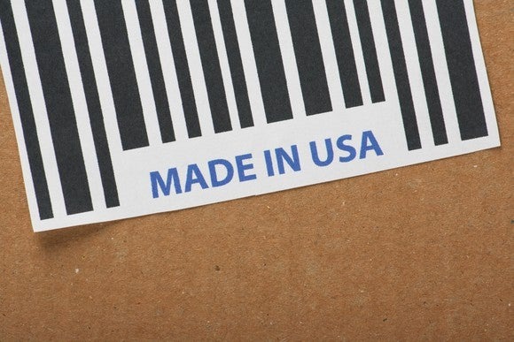 A made in USA label on a box