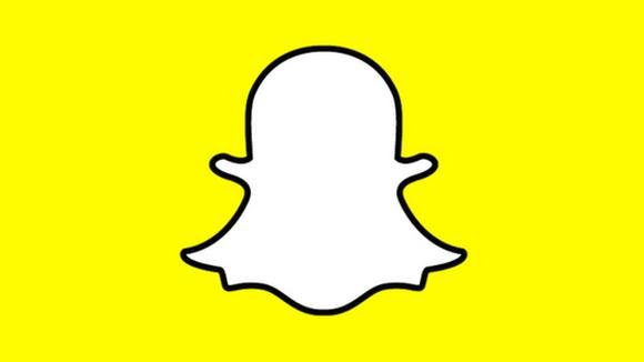 Snapchat logo on yellow background.