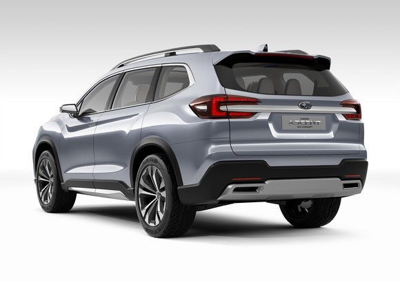 The Subaru Ascent SUV Concept, a silver SUV viewed from a rear three-quarter angle