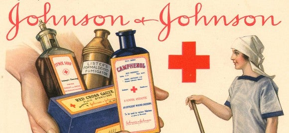 Very old consumer goods marketing poster from Johnson & Johnson