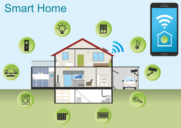 Animated image of home surrounded by icons representing home automation devices.