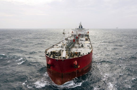 A crude oil tanker on the ocean.