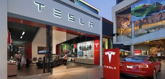 Front of a Tesla show room