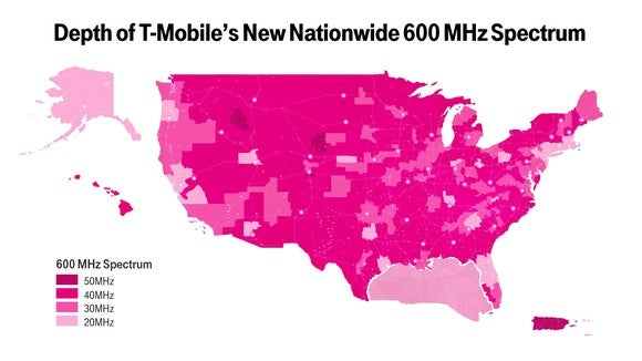 A map of T-Mobile's 600 MHz spectrum holdings.