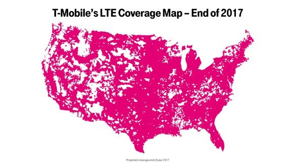 Map showing T-Mobile's expected LTE coverage by the end of 2017