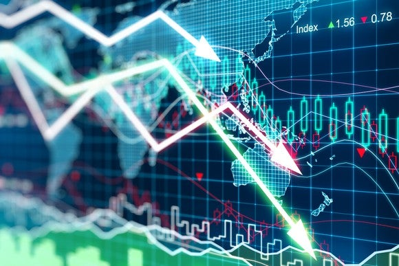 Fluctuating stock prices with a map of the world in the background