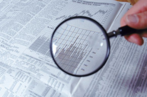 A person examining stock market data with a magnifying glass.