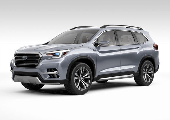 The Subaru Ascent SUV Concept, a silver SUV.