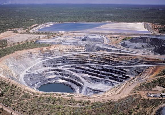 An open pit uranium mine.