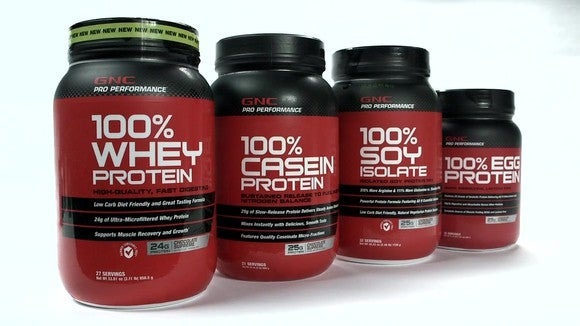 Four GNC protein products.