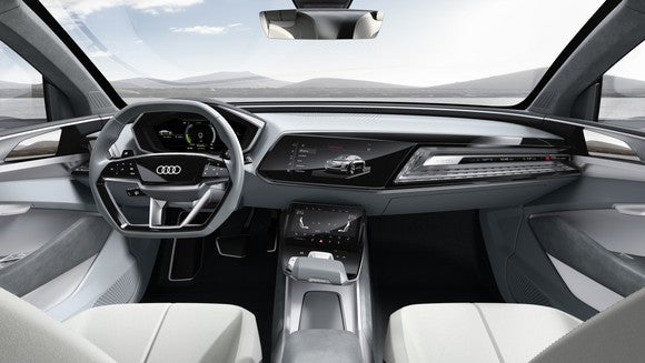 The e-tron Sportback concept's front seats and dashboard