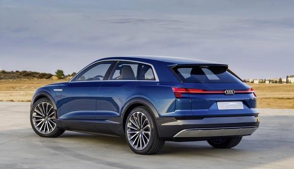 The Audi e-tron quattro concept, a blue electric SUV