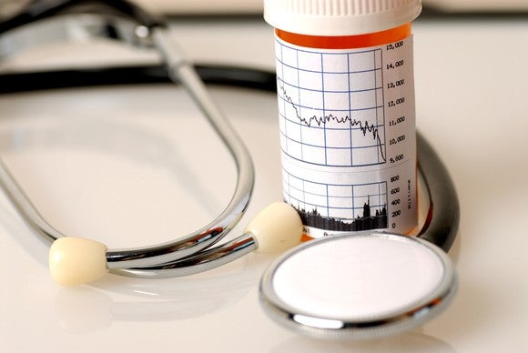 A stethoscope is wrapped around a pill bottle that has a general stock market chart on it.