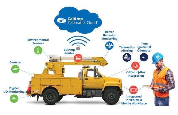 CalAmp vehicle telematics chart on a work truck.