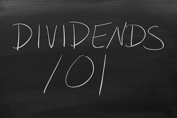 The words 'Dividends 101' on a blackboard in chalk