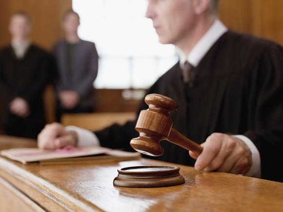 Judge holding a gavel