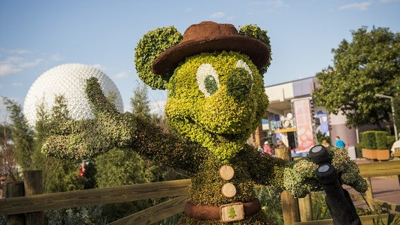 A Mickey Mouse topiary at Disney World's EPCOT.