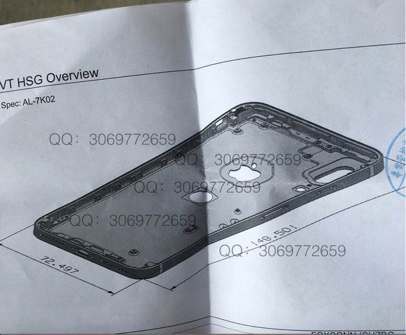 The allegedly leaked schematics of Apple's next-gen iPhone with Touch ID on the back.
