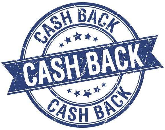 "Circular stamp-like image that says ""cash back"""