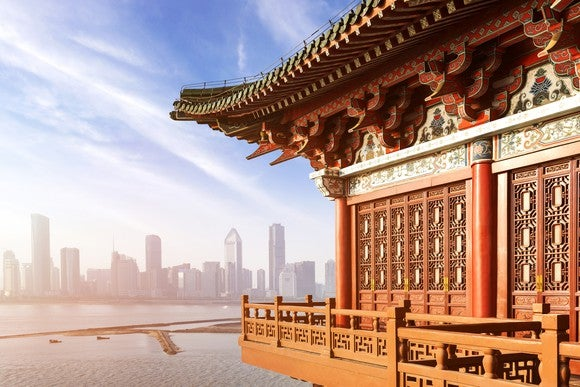 Traditional Chinese architecture set against a modern skyline.