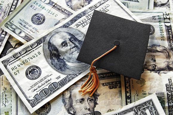 A graduation cap on top of $100 bills