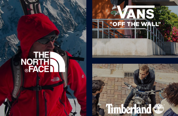 Pictures of the company's The North Face, Vans, and Timberland brands.