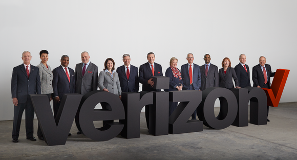 Verizon board of directors standing behind Verizon logo