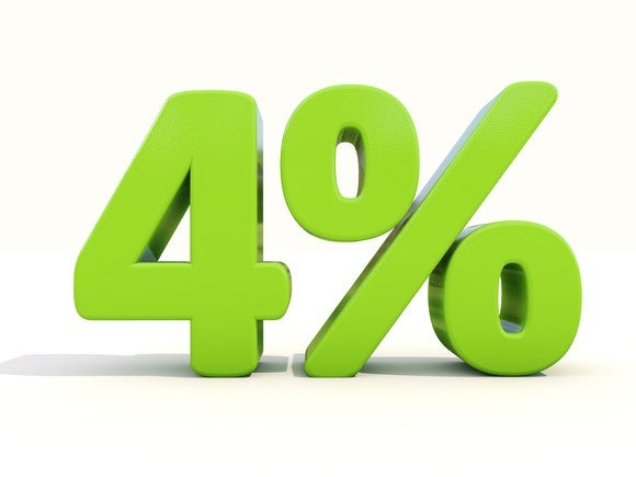 """""""4%"""" represented as a 3-d image"""