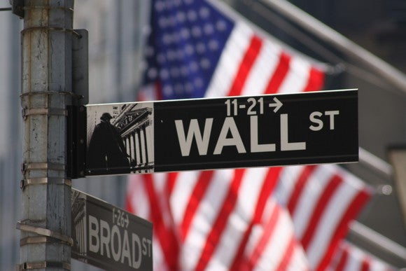 Wall St. street sign with American flag hanging in the background.