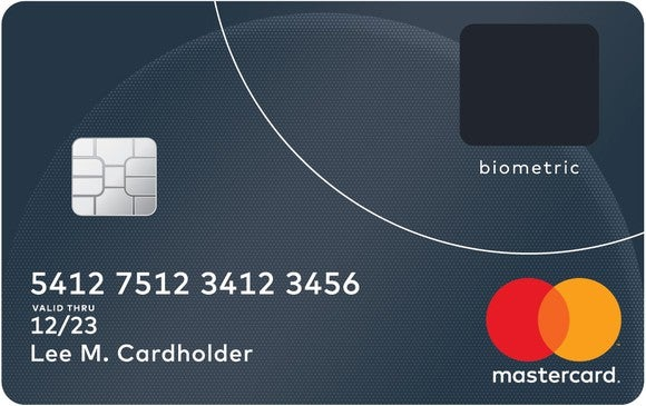 A sample Mastercard credit card with a biometric reader.