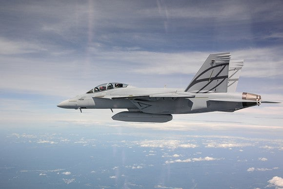 F/A-18 Super Hornet in flight.