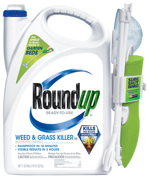 A container of Monsanto's Roundup herbicide that is distributed by Scotts Miracle-Gro