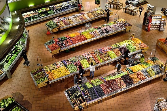 A view of a supermarket from above.