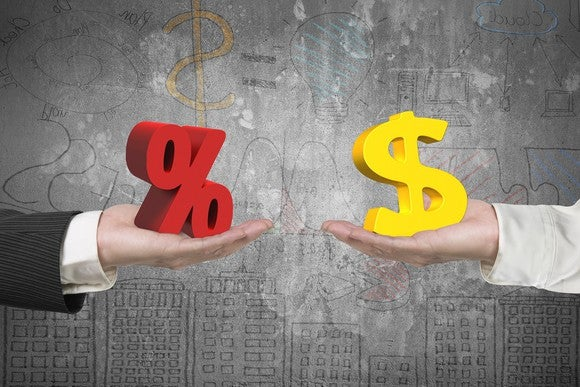Two hands; one holding a percent sign, the other holding a dollar sign.