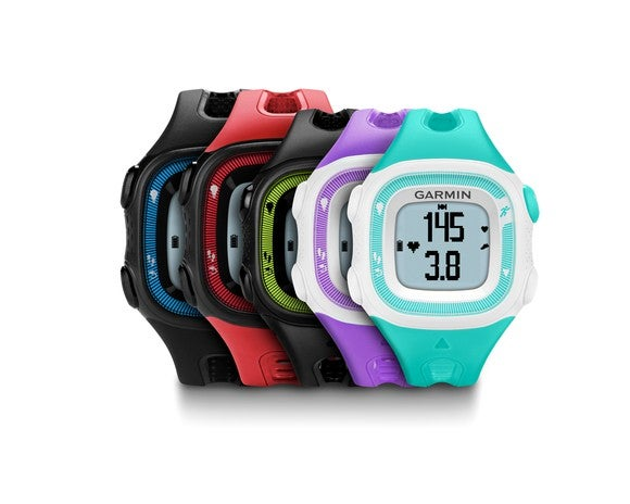 A series of Garmin's Forerunner smartwatches are displayed in an attractive fashion