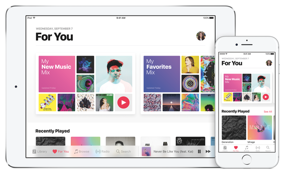 Apple Music on an iPhone and iPad