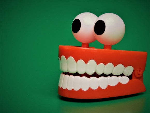 Toy chattering teeth with googly eyes on top