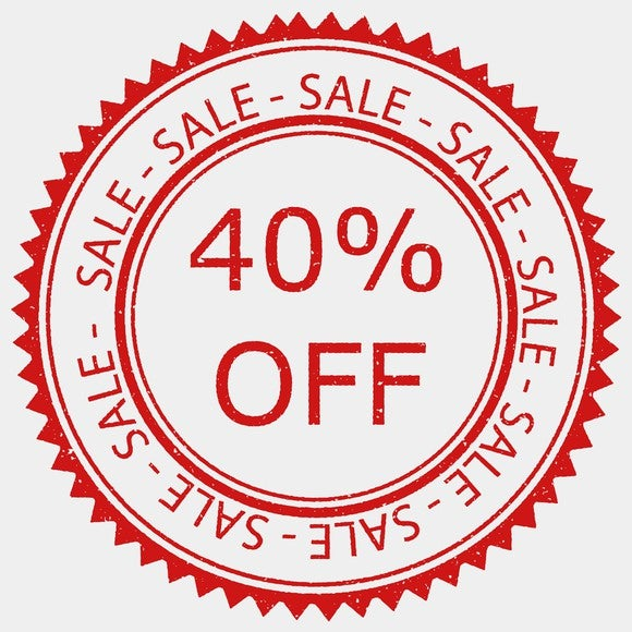 A 40% off sale sign