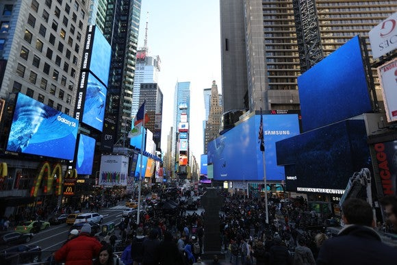 Digital billboards light up with Samsung logos in New York's Times Square during the launch of its new Galaxy S8 smartphone and S8+ phablet.