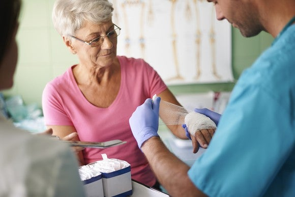 Senior woman getting bandaged in a clinic by a doctor