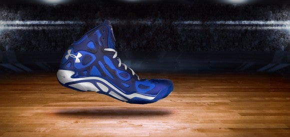 An Under Armour basketball shoe.