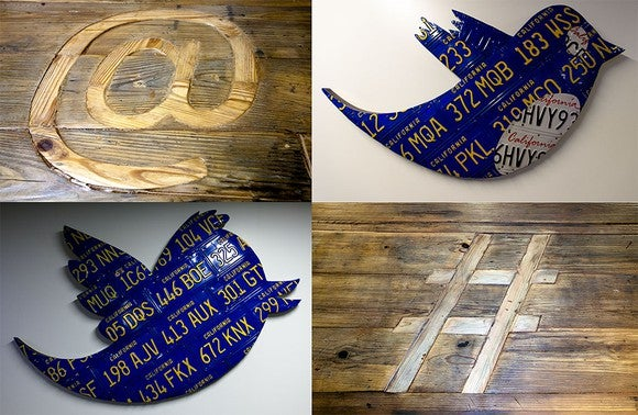 "Clockwise from top right: ""@"" carved in wood, Twitter bird made from blue and white California license plates, ""#"" carved in wood, Twitter bird made from blue license plates."