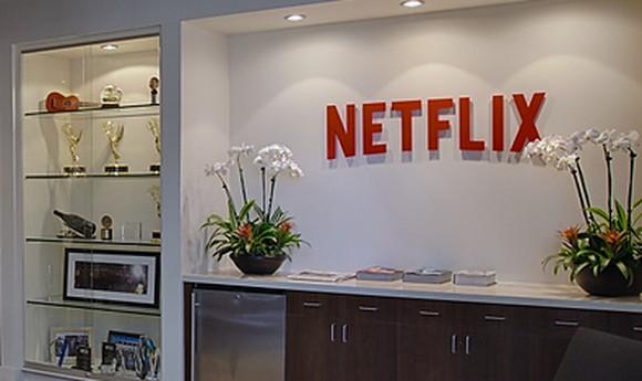 Netflix HQ lobby, showcasing a few awards.