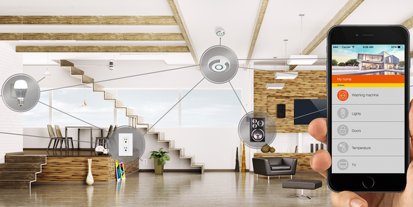 A smartphone demonstrating Silicon Labs Internet of Things concept in a home.