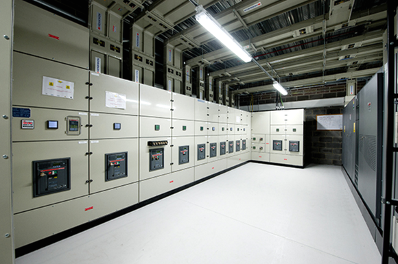 The interior of a data center.