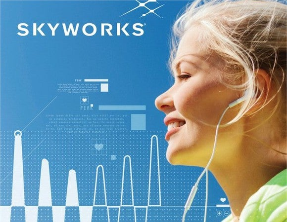 A picture of a woman in front of the Skyworks logo.