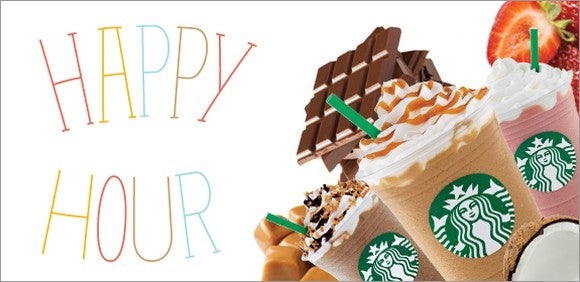 Starbucks Frappuccino Happy Hour promotional image.