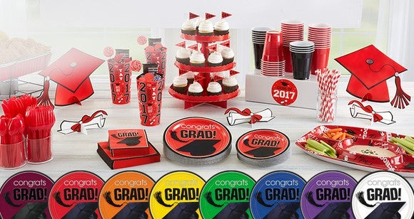 An arrangement of grad-party merchandise.