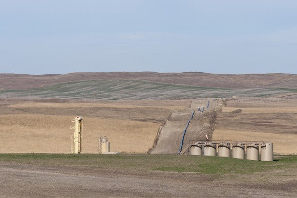 An oil pipeline under construction in North Dakota.