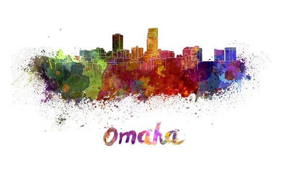 Artistic rendering of  downtown Omaha, Nebraska.